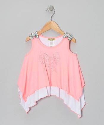 Neon Pink Leo Bowsie Sidetail Top - Toddler & Girls