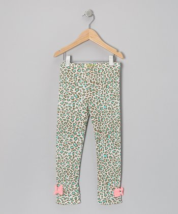 Mint Aqua Leo Bowsie Leggings - Toddler & Girls