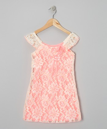 Neon Pink Lace Fanta Shift Dress - Toddler & Girls