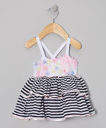Navy & Pink Floral Ever-After Ruffle Tunic - Infant & Toddler
