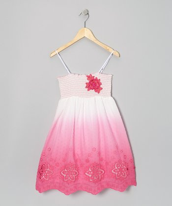 Fuchsia Temple Eyelet Dress - Toddler & Girls