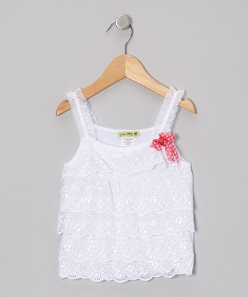 White Summer Chic Lace Tank - Toddler & Girls