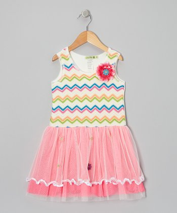 Pink Rainbow Sunshine Lace Tutu Dress - Infant, Toddler & Girls