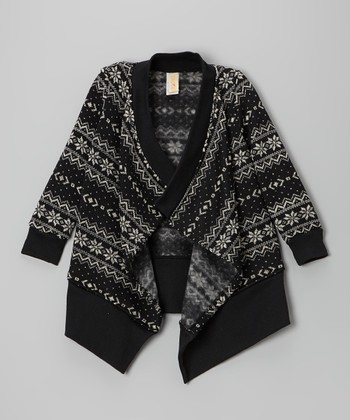Black & White Fair Isle Open Cardigan - Girls