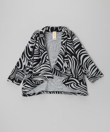 Black & Gray Swirl Drape Cardigan - Toddler & Girls