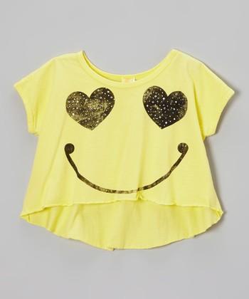Banana Yellow Smiley Maryland Hi-Low Top - Girls