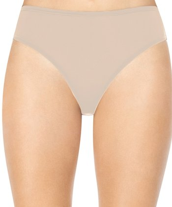 Hook Up Panties Mesh Trim High-Leg Briefs - Natural