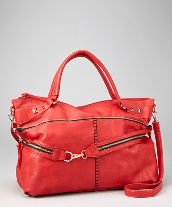 Red Double Zipper Tote
