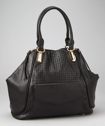 Black Perforated Envelope Tote