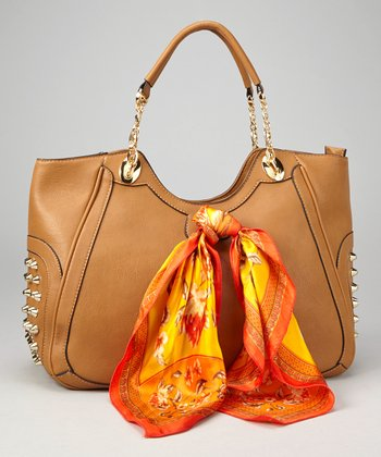 Brown Conical Stud Tote