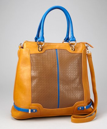 Brown & Blue Weave Panel Tote