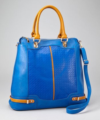 Blue & Brown Weave Panel Tote
