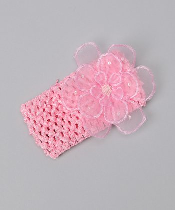 Light Pink Organza Flower Headband