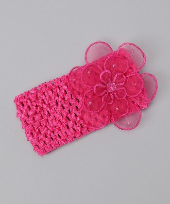 Hot Pink Organza Flower Headband