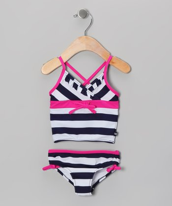 Navy & Hot Pink Stripe Tankini - Infant, Toddler & Girls