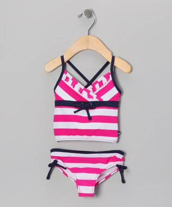 Hot Pink Stripe Tankini - Infant, Toddler & Girls