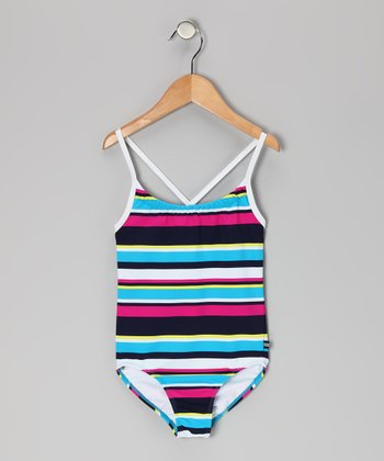 Turquoise Stripe One-Piece - Infant, Toddler & Girls