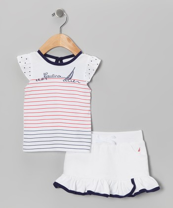 Sail White Stripe Top & Skirt - Infant & Toddler