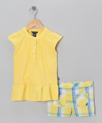 Yellow Ruffle Tunic & Shorts - Girls