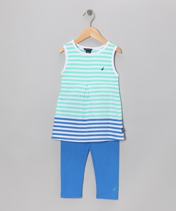 Reef Blue Stripe Tunic & Pants - Girls