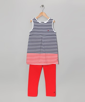Bright Red Stripe Tunic & Pants - Girls