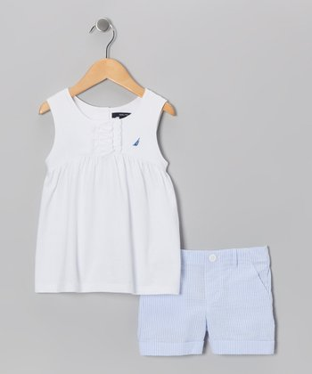 Sail White Tunic & Light Blue Shorts - Toddler