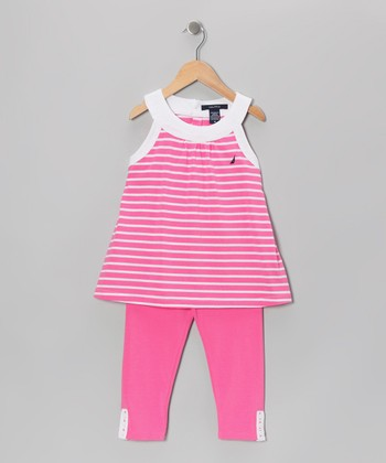 Pink Stripe Tunic & Pants - Toddler