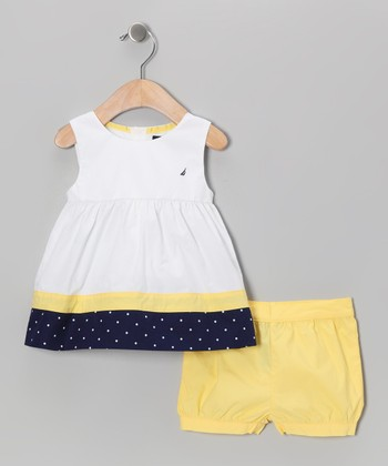 Yellow Polka Dot Tunic & Shorts - Infant