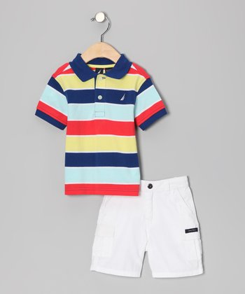 Vitamin C Stripe Polo & Shorts - Toddler