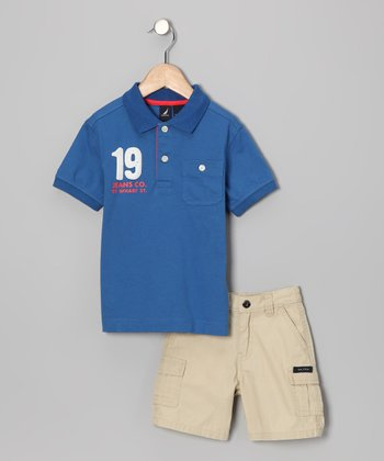 Blue Stripe Polo & Shorts - Toddler