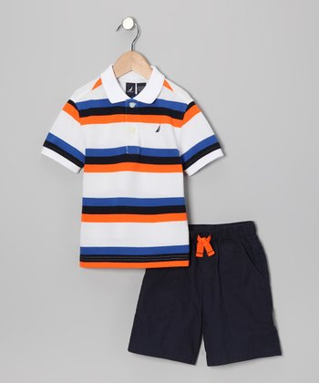 Sail White Stripe Polo & Shorts - Infant