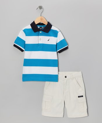 Aqua Steel Stripe Polo & Shorts - Toddler