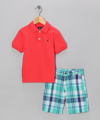 Light Red Polo & Shorts - Toddler