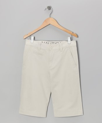 Light Smoke Flat-Front Shorts - Toddler