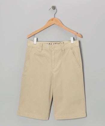 Worn Khaki Flat-Front Shorts - Toddler