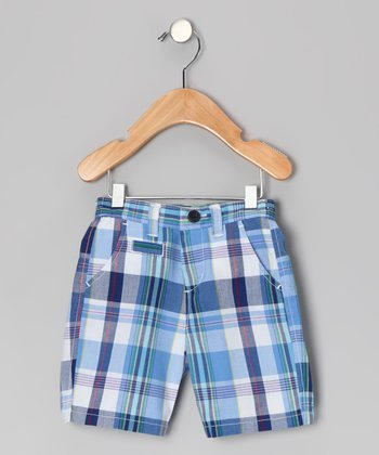 Summer Blue Plaid Shorts - Boys