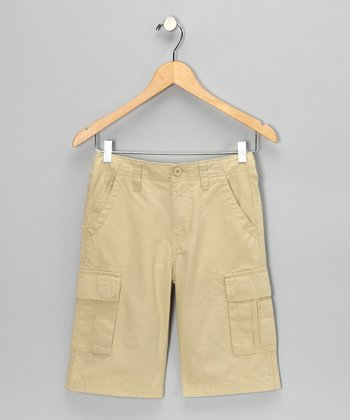 Worn Khaki Cargo Shorts - Boys