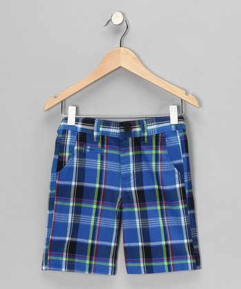 Fiji Blue Plaid Shorts - Boys
