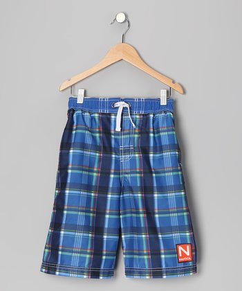 Fiji Blue Plaid Swim Trunks - Boys