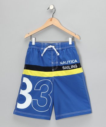 Fiji Blue Stripe Swim Trunks - Boys