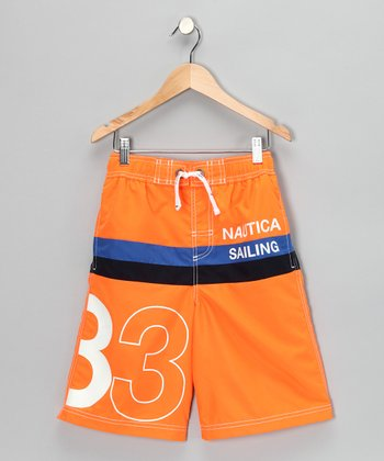 Neon Fish Stripe Swim Trunks - Boys
