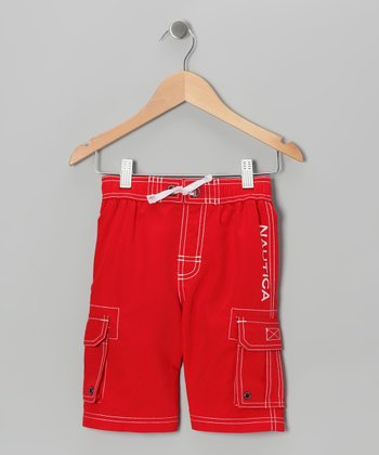 Carmine Contrast-Stitch Swim Trunks - Boys