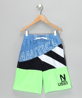 Neon Lime 'Nautica' Swim Trunks - Boys