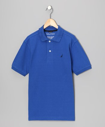 Fiji Blue Solid Polo - Boys