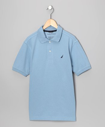 Light Blue Solid Polo - Boys