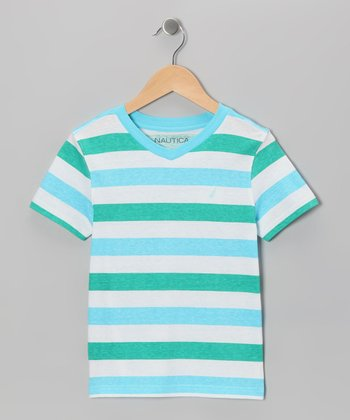 Kingfisher Stripe V-Neck Tee - Boys