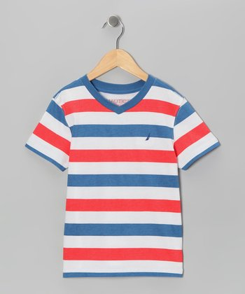 Light Red Stripe V-Neck Tee - Toddler & Boys