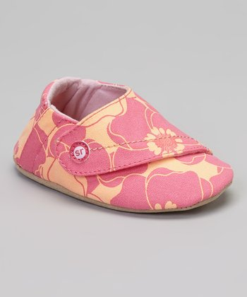 Fuchsia & Peach Crib Happy Hibiscus Booties
