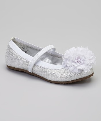 White Buffy Sequin Flat
