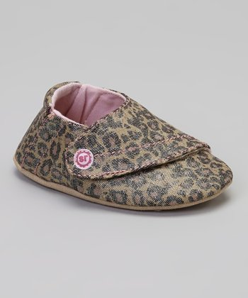 Brown & Pink Crib Lush Leopard Booties